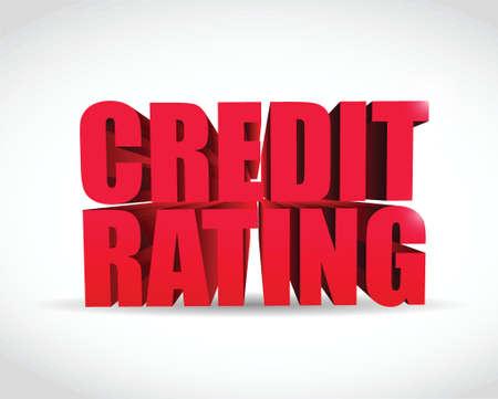 credit rating illustratie ontwerp 3d tekst teken over een witte achtergrond