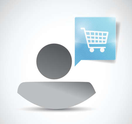 avatar message bubble and shopping cart illustration design over a white background Vector