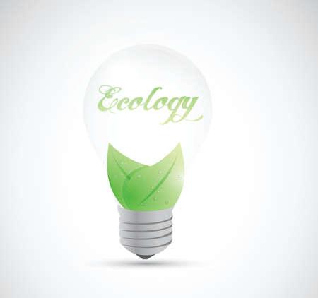 eco natural energy light bulb illustration design over a white background