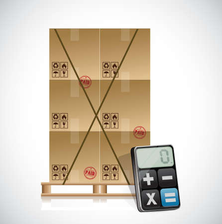 cargo shipping and calculator illustration design over a white background