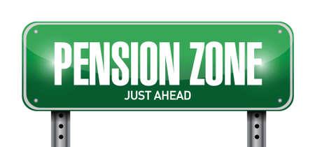 pensioen: pensioen zone bord geplaatst illustratie ontwerp op een witte achtergrond Stock Illustratie