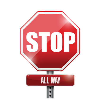 stop all way sign illustration design over a white background