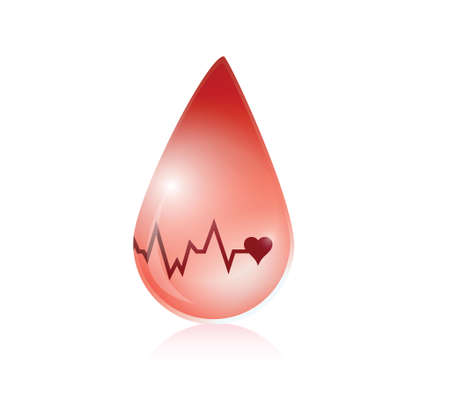 blood and lifeline illustration design over a white background Vector