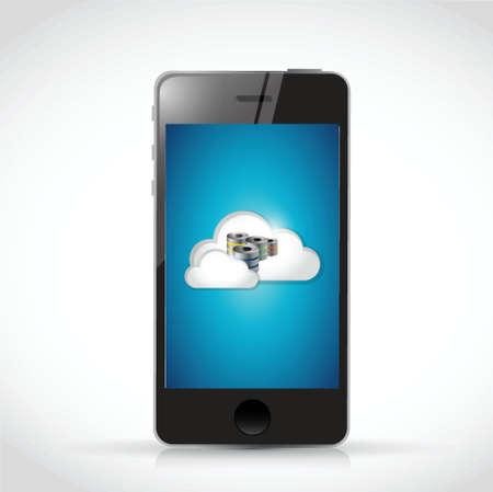 somewhere: smart phone server data access illustration design over a white background