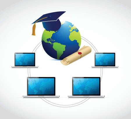 elearn: computer education network concept illustration design over a white background Illustration