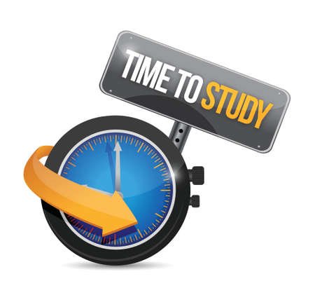 time to study sign illustration design over a white background Ilustrace