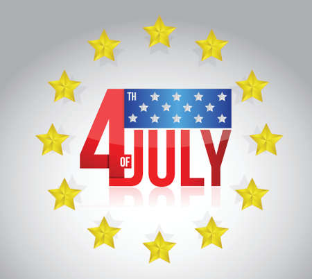 fourth of july sign and golden stars. illustration design over a grey background Vector