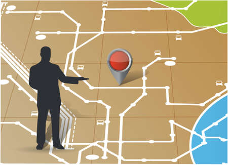 pushpins: map and avatar pointing a location. illustration design map Illustration