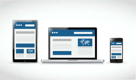web site design: web responsive electronics. web design illustration design over a white background