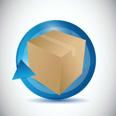 freight transportation: box and cycle illustration design over a white background