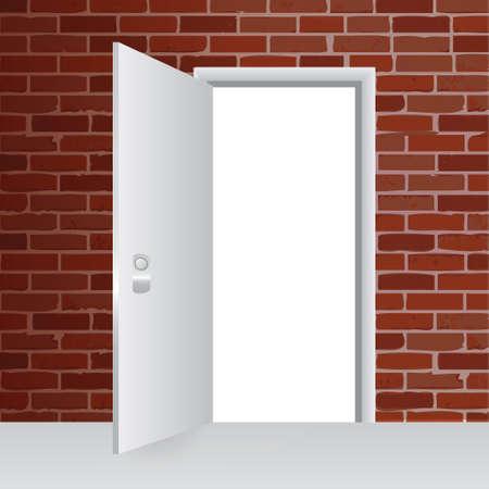 brick wall and open door illustration design background Stock Vector - 28561624