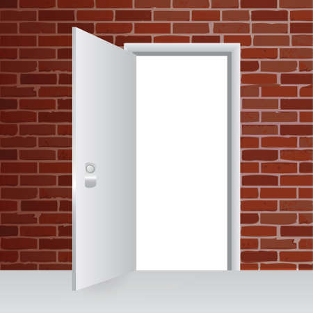 row houses: brick wall and open door illustration design background