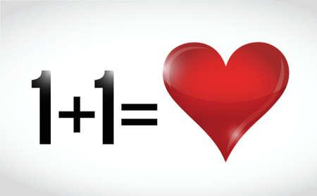equals: eins plus eins gleich Liebe. Illustration, Design �ber einem wei�en Hintergrund