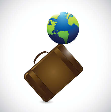 suitcase and globe illustration design over a white background Vector