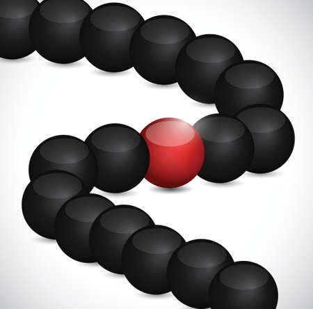 black spheres and one in red. illustration design over a white background Vector