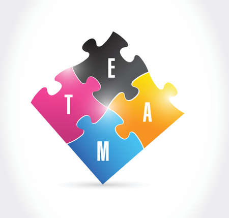 achieves: team puzzle pieces illustration design over a white background