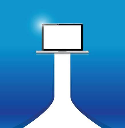 青い背景上のラップトップと白ラインのイラスト デザイン