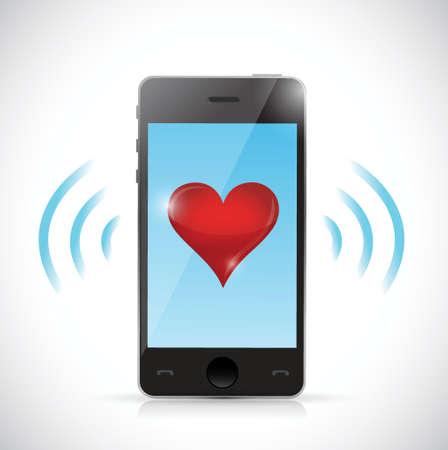 landlines: phone love connection illustration design over a white background Illustration