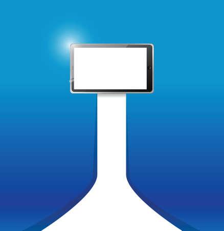 青い背景上のタブレット イラスト デザイン  イラスト・ベクター素材