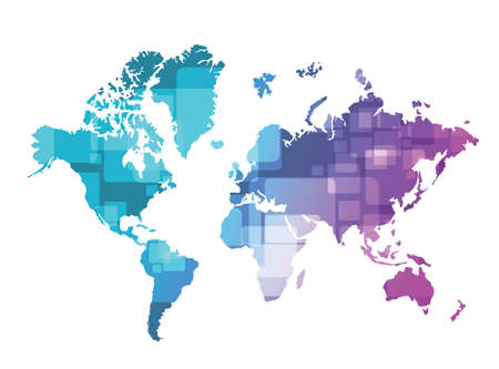 world map technology illustration design over a green and purple background Vector