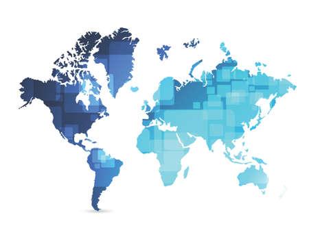 world map technology illustration design over a blue background