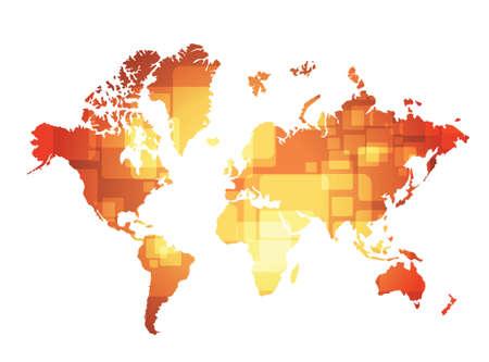world map technology illustration design over a orange background Ilustração