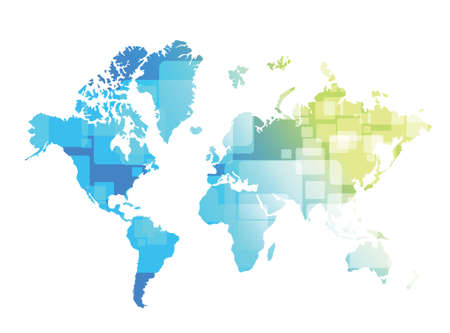 world map technology illustration design over a blue and green background