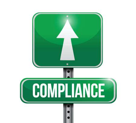 compliance street sign illustration design over white Illustration