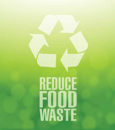 food waste: recycle reduce food waste green illustration background