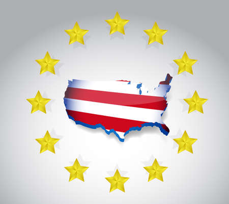 stars and us flag map illustration design over a white background illustration