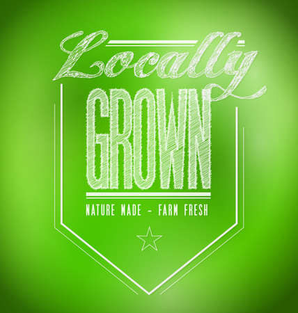 over grown: locally grown illustration design over a green background
