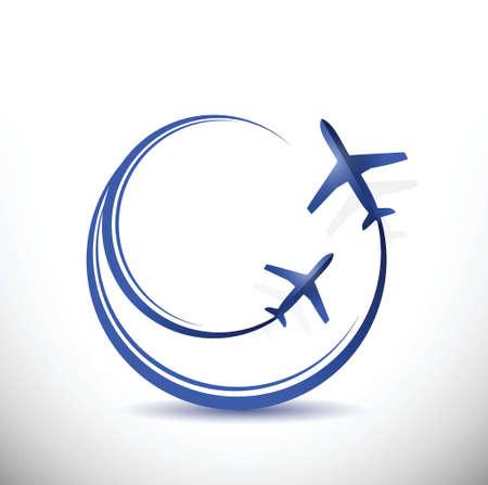 air traffic: dise�o de aviones de tr�fico a�reo ilustraci�n sobre un fondo blanco