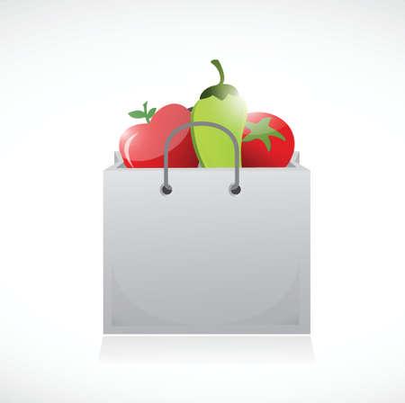 veggies and shopping bag illustration design over a white background