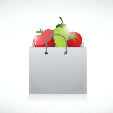 apples and oranges: veggies and shopping bag illustration design over a white background