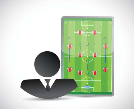 soccer coach: coach and soccer plays on a board. illustration design over a white background
