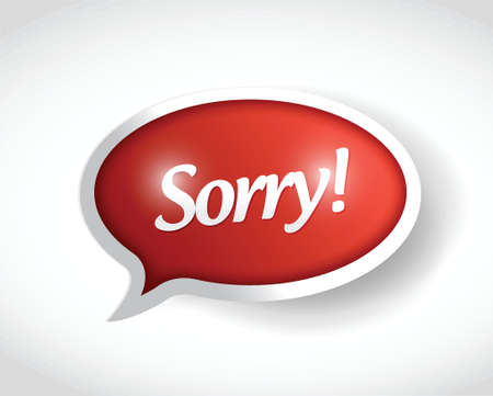 sorry bubble message post illustration design over a white background