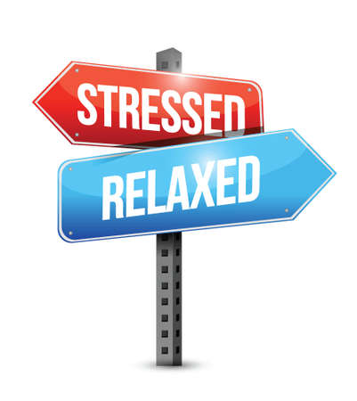 releasing: stressed and relaxed signs illustration design over a white background