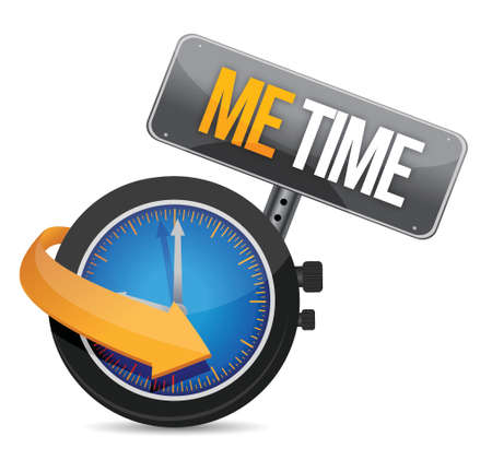time out: me time watch and sign illustration design over a white background