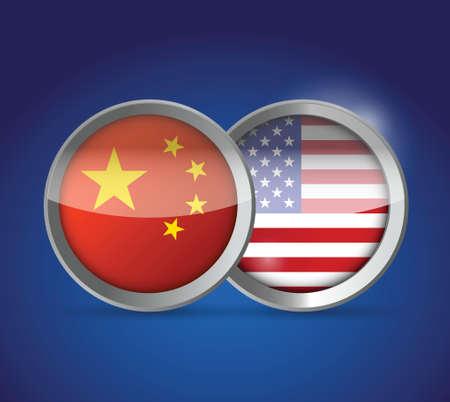 china and usa illustration design over a blue background Illustration