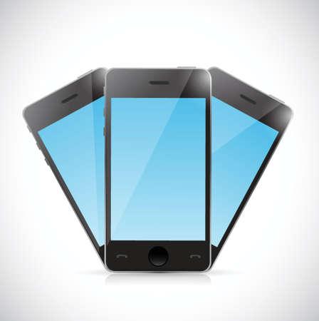 set of phones illustration design over a white background Vector