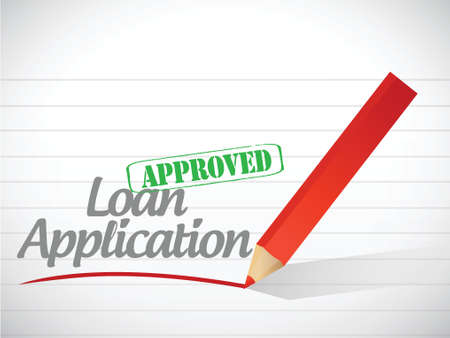 borrowing money: loan application approved sign message illustration design over a white background