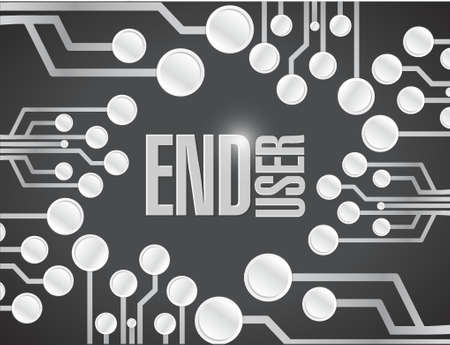 pcb: end user circuit board white board illustration design over a black background Illustration