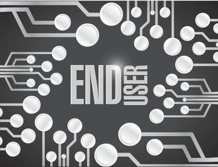 end user: end user circuit board white board illustration design over a black background Illustration