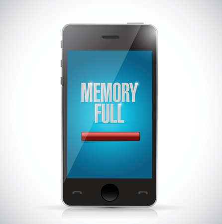 technology transaction: memory full. no storage space phone illustration design over a white background