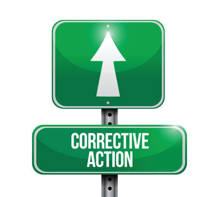 corrective action sign post illustration design over a white background