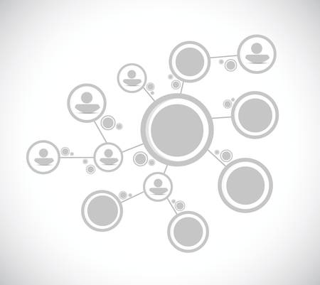 Grau Menschen Bild-Netzwerkverbindung, Illustration, Design über einem weißen Hintergrund