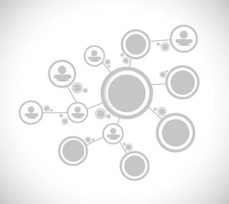 organigrama: red de personas grises diagrama de ilustración de la conexión de diseño sobre un fondo blanco Vectores