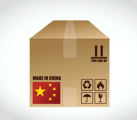 made in china shipping box. illustration design over a white background
