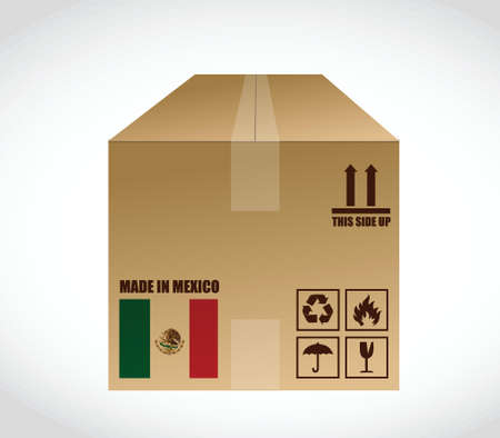 brownish: made in Mexico shipping box. illustration design over a white background
