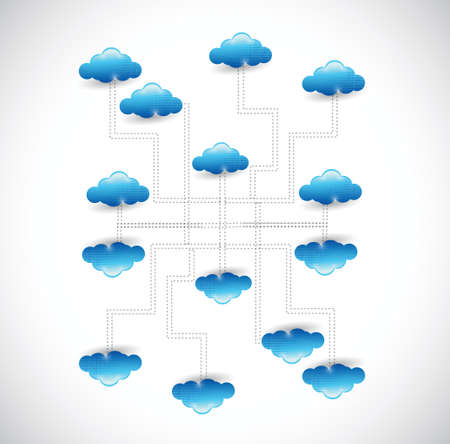 cloud network diagram connection illustration design over a white background Vector